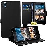 FoneExpert® HTC Desire 728G Handy Tasche, Wallet Hülle Flip Cover Hüllen Etui Ledertasche Lederhülle Premium Schutzhülle für HTC Desire 728G (Schwarz)