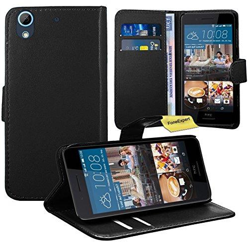 HTC Desire 728G Handy Tasche, FoneExpert® Wallet Hülle Flip Cover Hüllen Etui Ledertasche Lederhülle Premium Schutzhülle für HTC Desire 728G (Schwarz)
