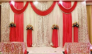 LB Red Wedding Stage Backdrop Curtains with Swags Ivory White Silk Background Party Drape Decorations Backdrop for Wedding Birthday Party Event,10x10ft