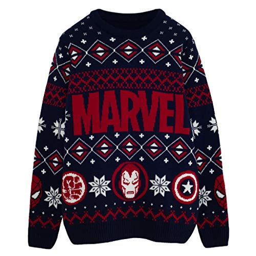 Marvel Comics Iconos héroe Puente de Punto para Hombres Armada 2XL | Feo Feria suéter de Navidad Puente Isla de Navidad Ideas de Regalos para Hombre Ropa
