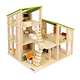 Kledio Kinder Holzpuppenhaus für Mädchen und Jungen ab 3 Jahren, Spielzeug Puppenhaus aus Holz FSC...