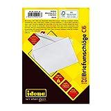 Idena 10216 - Briefumschläge DIN C6, 75 g/m², haftklebend, ohne Fenster, weiß, 25 Stück