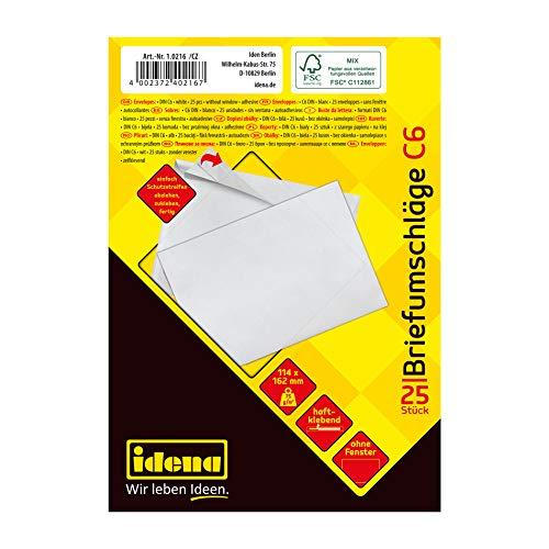 Idena 10216 - Briefumschläge C6, 75 g/m², haftklebend, ohne Fenster, weiß, 25 Stück
