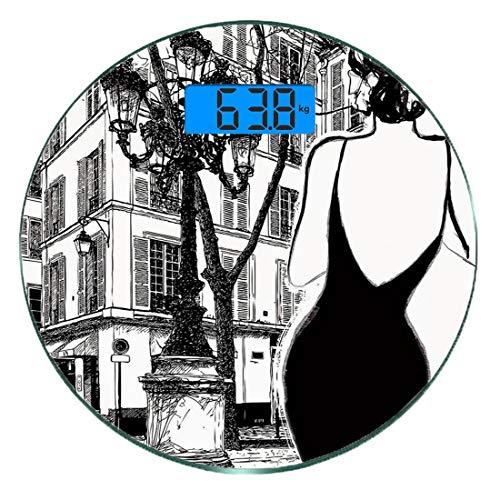 Digitale Präzisionswaage für das Körpergewicht Runde Paris-Stadt-Dekor Ultra dünne ausgeglichenes Glas-Badezimmerwaage-genaue Gewichts-Maße,Junge elegante Frau in einem schwarzen Kleid in Paris-Straße