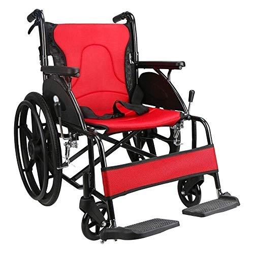 WXDP Autopropulsado Manual Plegable y liviano con neumático no neumático Pedal de pie Ajustable de Freno Doble para discapacitados/Ancianos
