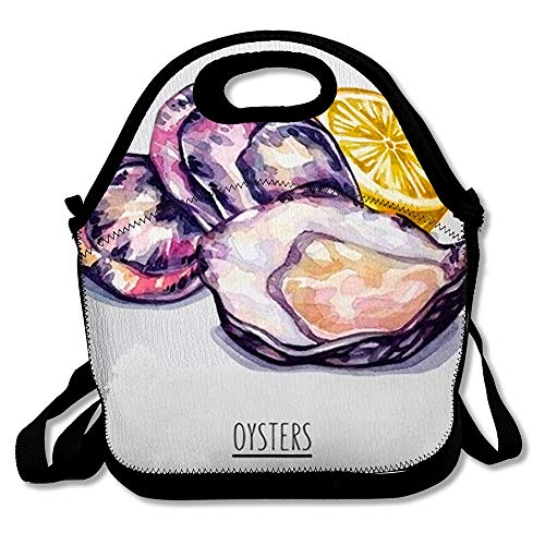 Reusable Soft Lunch Tote Drawn Watercolor Lemon Oysters White Raw Food Gourmet Drink Antioxidant Cooking Drawing Fish Slice Insulated Lunch Bag for Women Men and Kids