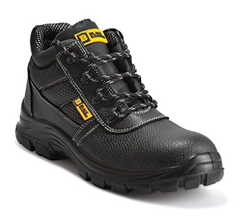 Botas de Seguridad de Cuero para Hombres Puntera de Acero Protección de Entresuela Resistente al Agua Impermeable S3 SRC Calzado de Trabajo al Tobillo de Cuero 1007 Black Hammer (46 EU)
