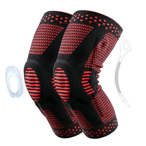2Pcs Kniebandage Sport mit Silikon, Rutschfeste Bandage Knie mit Federstütze, Meniskus Knee Support, Knie Stabilisator für Fußball, Basketball, Radfahren, Joggen, Fitness, Laufen (XL, Rot)