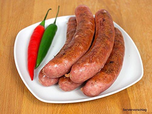 Mettenden gebrüht mit Chili, 2 Packungen zu 5 x 100g - Mettwurst/Grillwurst ideal für Grill und Pfanne - Original westfälisch Ringhoff