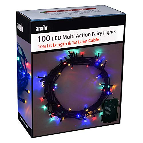 ANSIO Christmas Lights 100 LED Battery Operated Fairy Lights 10m / 32ft String Indoor Lights for Xmas/Party/Home/Bedroom/Decoration Multicoloured- Green Cable