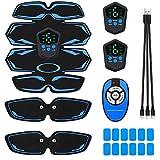 Boblov Electroestimulador Muscular Abdominales, EMS Estimulador con Pantalla LCD & 9 Niveles de Intensidad, Masajeador Eléctrico Cinturón para Abdomen/Brazo/Piernas/Cintura para Hombres y Mujeres