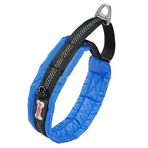 Bequeme Hundehalsband, Anti-Zugkragens, geeignet für alle Arten von Haustieren, leichte Outdoor-Training Kragen,Blue-X~Large