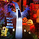 Sanxun 12FT Halloween Inflatable Ghost Decoration Halloween White Ghost Yard Decor for Party Display, Halloween Blow up Outdoor Party Decor with White LED Light for Yard Garden