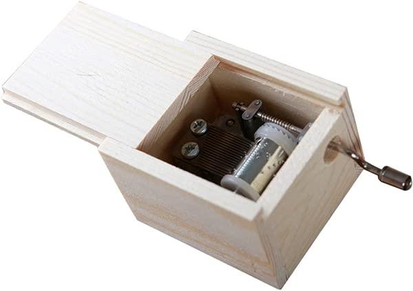 WinnerEco Wooden Mini Music Box DIY Mechanical Hand Crank Craft Music Box Movement