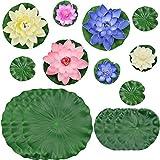 PIXHOTUL Decoraciones artificiales flotantes para estanque flotantes de agua, flores de loto y hojas de loto para decoración de estanque (multi tamaño A)