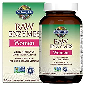 Garden of Life Vegetarian Digestive Supplement for Women - Raw Enzymes for Digestion Bloating Gas and IBS 90 Capsules
