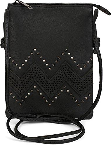 styleBREAKER petit sac à bandoulière avec motifs découpés en forme de zigzag et rivets, sac à bandoulière, sac, femme 02012211, couleur:Noir