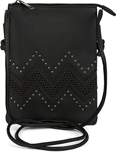 styleBREAKER Mini Bag Umhängetasche mit Zick-Zack Cutout und Nieten, Schultertasche, Handtasche, Tasche, Damen 02012211, Farbe:Schwarz