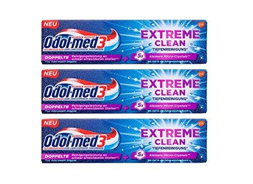 3x Odol-med 3 Extreme Clean Tiefenreinigung Zahnpasta 75 ml
