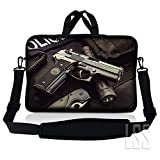 LSS 15.6 inch Laptop Sleeve Bag Compatible with Acer, Asus, Dell, HP, Sony, MacBook and more | Carrying Case Pouch w/ Handle & Adjustable Shoulder Strap, Police Gun Weapons