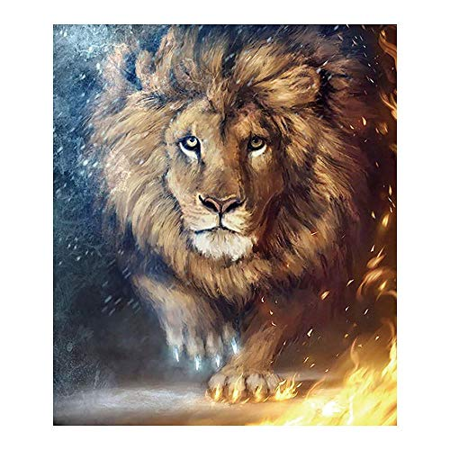Crystal Rhinestone Embroidery Pictures Arts Craft (Ice Fire Lion Animal) for Adults and Beginner Diamond Painting Rhinestone Embroidery Crafts