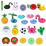 Inflatable Floating Drink Holders for Pool 20PCS with 1 Air Pump Float Party Accessorie Summer Beach Cup Coasters for Kids Adults Toys Swimming Pool Floats Decoration