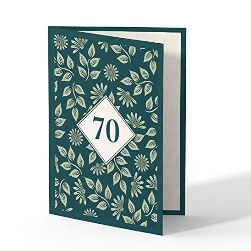 (20 x) Einladungskarten zum 70. Geburtstag Einladungen Karten Klappkarte Edel runder