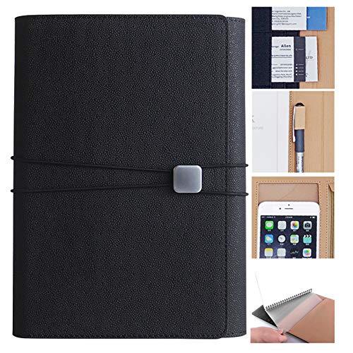 Belonlink Classic Notebook, A5 Vintage Taccuino Taccuino con Pagine Bianche Tasche, Copertina Rigida e Chiusura ad Elastico, Formato 23 X 16 Cm, 90 Pagine Nero