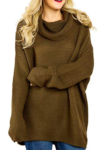 Allimy Women Casual Cowl Neck Loose Knit Sweater Pullover Tunic Tops