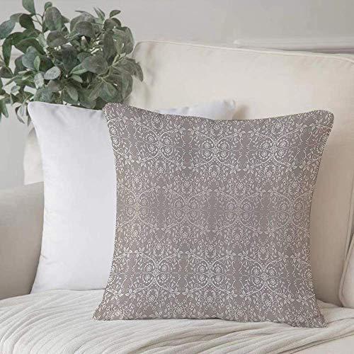 Funda de almohada, funda de cojín Puesto gris, flores y hojas de encaje victoriano Fondo retro Funda de cojín de decoración GraphiHome de estilo antiguo Cuadrado acogedor para sofá Funda de almohada
