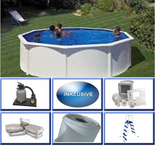 Summer Fun Stahlwandbecken Set Grandy rund ø 3,00m x 1,20m Folie 0,3mm Super Komplettset Pool Rundpool / 300 x 120 cm Stahlwandpool