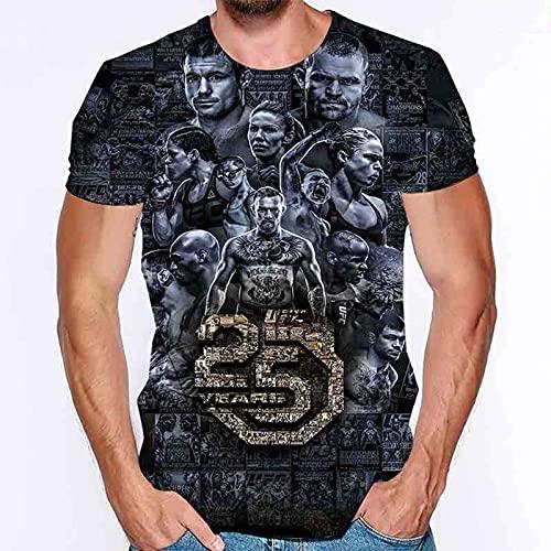 ZHSNG Männer T-Shirt Sanda Training Anzug Herren Dünne UFC-gedruckte Vollfarbige Kurzarm-T-Shirt Mixed Martial Arts Box-Anzug MMA A-S