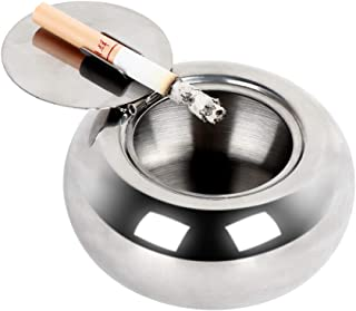 KMEIVOL Ash Tray with Lid, Modern Ashtray Tabletop, Desktop Smoking Ash Tray Outdoors for Home Office Decoration, Ashtrays for Cigarettes