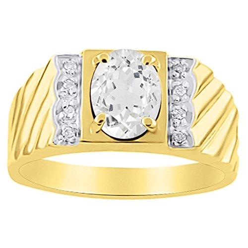 Diamante y Topacio blanco Anillo 14K Amarillo o 14K oro blanco