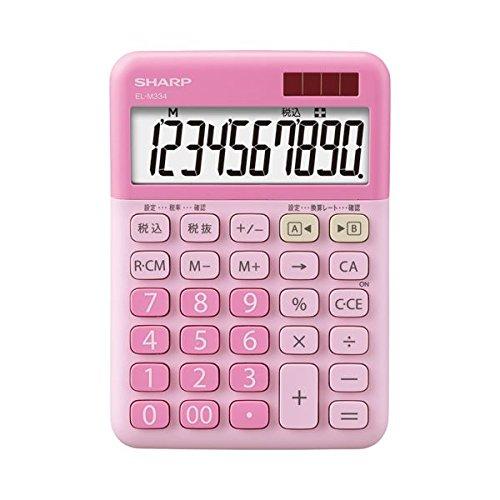 (まとめ) シャープ SHARP カラー・デザイン電卓 10桁 ミニナイスサイズタイプ ストロベリーチーズケーキ EL-M334-PX 1台 〔×5セット〕