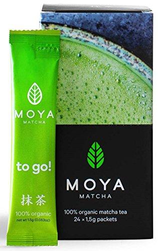 Organischer Moya Matcha To Go! Tee-Beutel | 24 Stück x 1,5g Tee-Einwegbeutel | Grün Pulver Perfekt für das Trinken mit Wasser, Milchkaffee, Smoothies & Limonaden