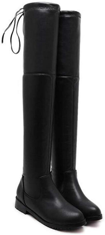 Oberschenkel Hohe Stiefel Ofenrohr Stretch Stiefel Frauen 3 cm Chunkly Ferse Runde Kappe Reine Farbe Bowknot Lace-up Leggings Stiefel Kleid Stiefel Ritter Stiefel Eu Gre 34-40