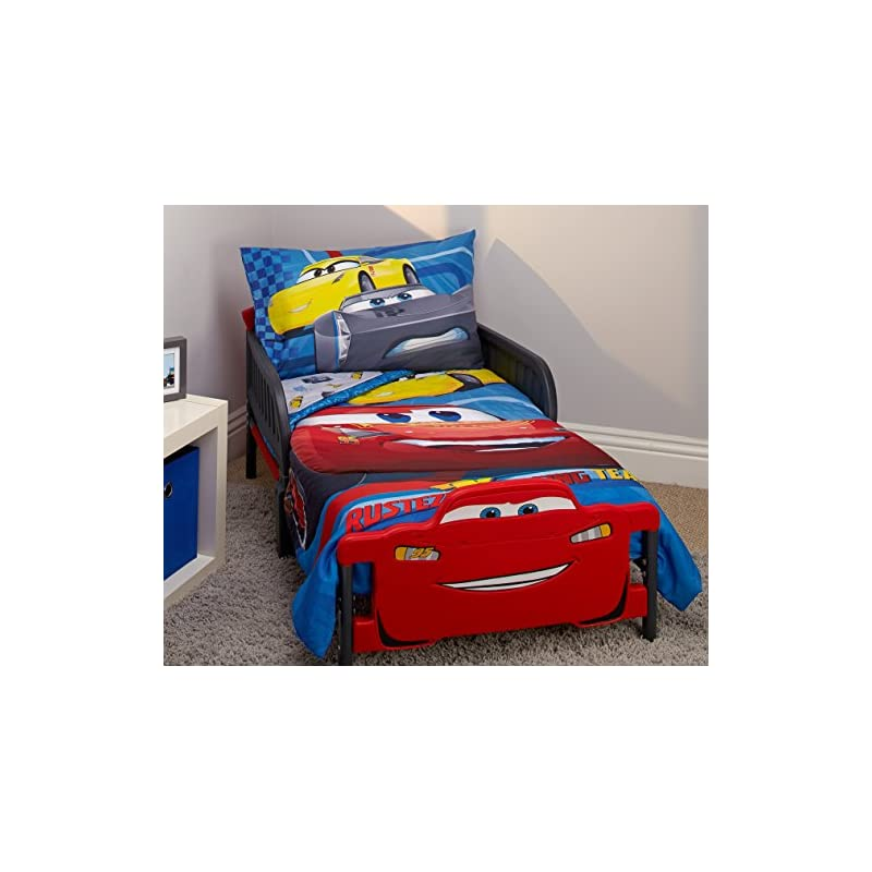crib bedding and baby bedding disney cars rusteze racing team 4 piece toddler bedding set, blue/red/yellow/white
