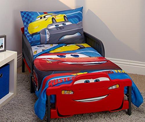 Disney Cars Rusteze Racing Team 4 pièces Parure de lit pour enfant, bleu/rouge/jaune/blanc