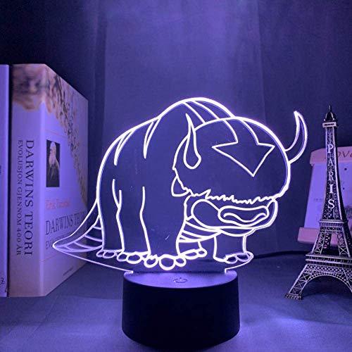 Luz de ilusión3DLuz denocheLEDLámpara de escritorio Avatar Último cojín de aire para niños Decoración de guarderíaAang AppaLa leyenda del regalo acrílico para niños