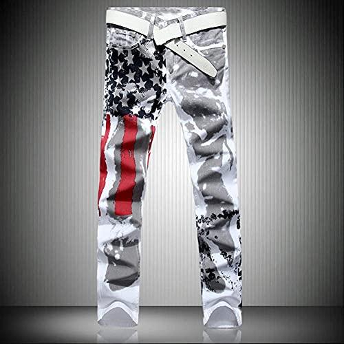 Woovitpl Bandera Americana Blanca de los Hombres Pantalones Vaqueros Impresos High Ermy Slim Ocio de Cinco Estrellas Rojo Bar Código Grande Trouse