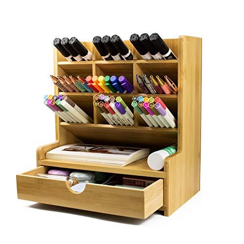Surmounty Schreibtisch Organizer Bambus Stifthalter, Desk Organizer Büro Ordnungssystem, Tisch Organisation für Home, Office, School