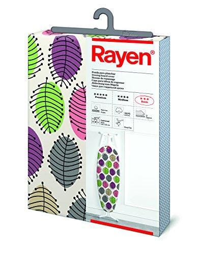 Rayen | Funda para tabla de planchar Universal | Fácil de colocar con sistema EasyClip | 2 capas: Espuma y tejido 100% algodón estampado | Gama Basic de Rayen | Medidas: 126x40cm