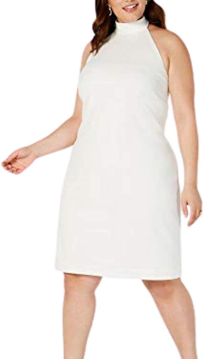 Teeze Me Womens White Sleeveless Halter Knee Length Sheath Cocktail Dress Size 24