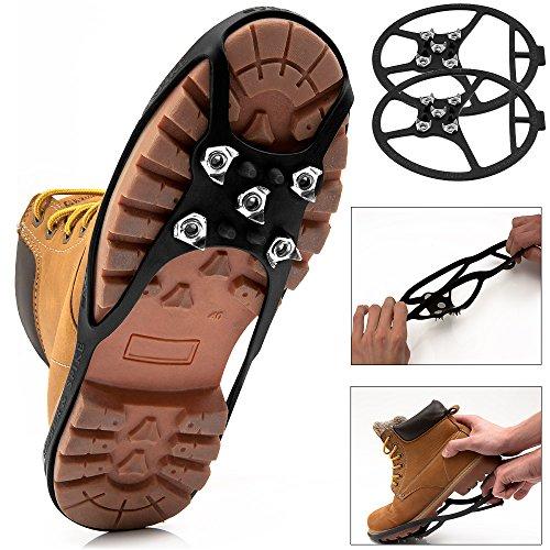 Deuba Crampons pour Chaussures Hiver Pointures 34-39 Pointes Sécurité pour Neige Glace