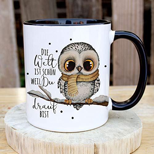 Tasse Becher mit Spruch Die Welt ist schön Weil du Drauf bist & Eule auf AST Zweig Motiv Kaffeebecher Geschenk Spruchbecher ts1075 - ausgewählte Farbe: *schwarz-weiß*