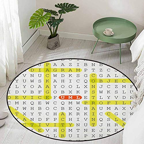 Round Polyester Non-Slip Doormat Rugs Colorful Unified Modeling Language Word Puzzle with Highlighted Keywords Diameter 54 inch Best Floor mats