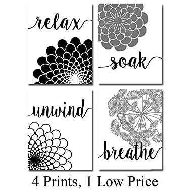 Bath Flowers Art Prints - Set of Four Photos (8x10) Unframed - Great Gift for Bathroom Decor