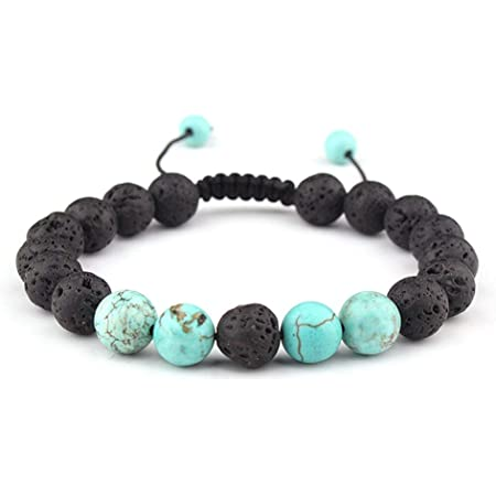 Celokiy Adjustable Lava Rock Stone Essential Oil Anxiety Diffuser Bracelet Unisex - meditation,relax,healing,aromatherapy