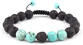 Celokiy Adjustable Lava Rock Stone Essential Oil Anxiety Diffuser Bracelet Unisex with Turquoise - Meditation,Relax,Healing,Aromatherapy